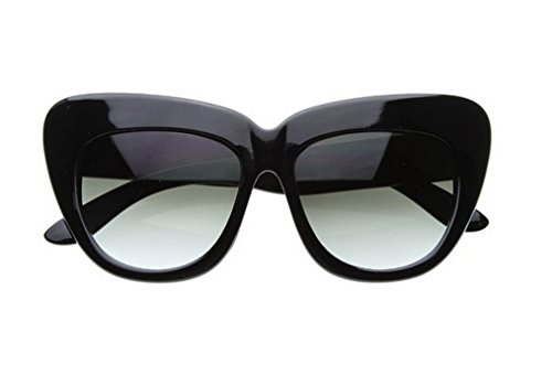 Eyewear Frame Sunglasses (Cateye or High Pointed Eyeglasses or Sunglasses Vintage Inspired Fashion (Bold Rim Cateye Black))