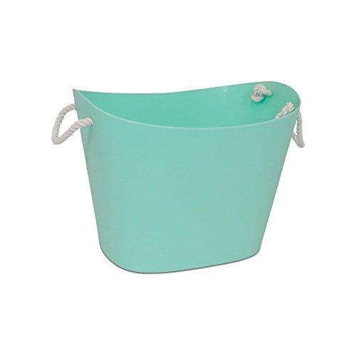 Homz Handles, Storage Bin, Waterproof, Light Blue Base, White Rope Flexible Tub,