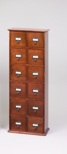Leslie Dame CD-228W Solid Oak Library Card File Media Cabinet, 12 Drawers, Walnut