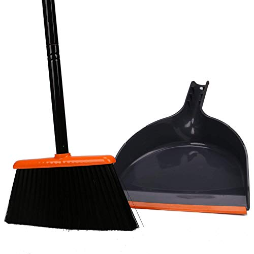 TreeLen Angle Broom and Dustpan, Dust Pan Snaps On Broom Handles