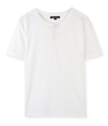 HETHCODE Men's Casual Slim Fit Comfort Soft Short Sleeve Henley T-Shirt Tee White XL