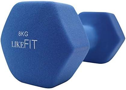 LIKEFIT Mancuerna Pesa Neopreno 8 Kg para Entrenamiento Gym 3