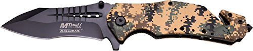 Camo Mtech (MTech USA MT-A845DM Spring Assist Folding Knife, Black Blade, Desert Camo Handle, 5-Inch Closed)