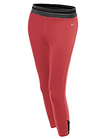 Color Contrast 3/4 Length Capri Skinny Workout Yoga Pants Charcoal Coral Size S