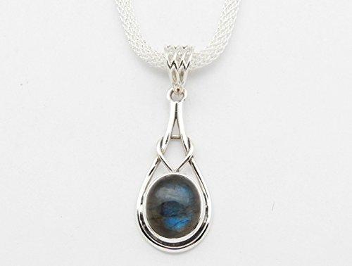 Fundamental Rockhound: Labradorite Gemstone Sterling Silver Pendant Necklace on 18