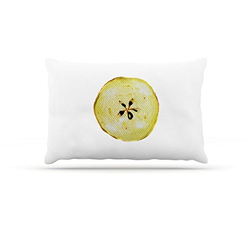 30 by 40\ Kess InHouse Theresa Giolzetti Apples  Yellow White Fleece Dog Bed, 30 by 40