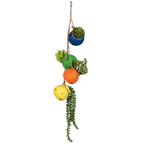 - MyGift Mixed Bright Rainbow-Color Hanging Ceramic 4 Pot Planter Set
