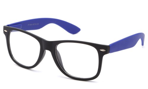 Clear Lens Fashion Fun Nerd Cosplay Geek Colors Rainbow Multi Color BUY 3 GET 50% OFF! 1888 Rubber Spring Blue