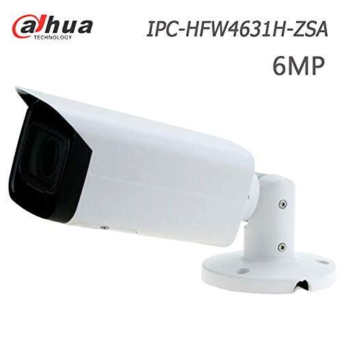 Dahua 6MP IP PoE Bullet Camera IPC-HFW4631H-ZSA 2.7~13.5mm Motorized Zoom VF Lens 5X Optical Zoom IP Security Camera Outdoor with IR 80m Night Vision, Built-in Mic & SD Card Slot, H.265, ONVIF, IP67