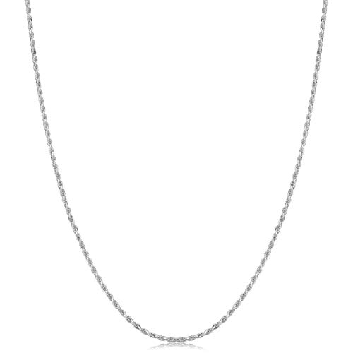 925 Sterling Silver Diamond-Cut Rope Chain Necklace (1.1mm, 20 inch) Diamond Cut Sterling Silver Necklace