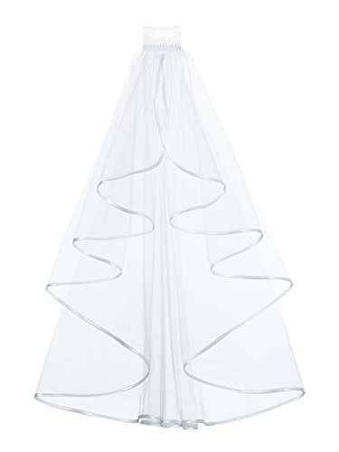 Elegant 1T 1 Tier Ribbon Cascade Waterfall Veil - White Elbow Length 28
