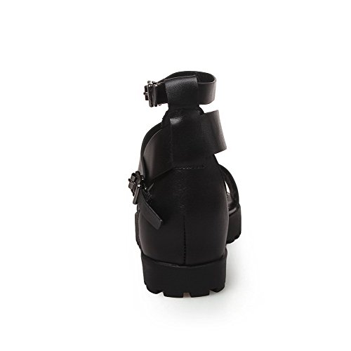 AllhqFashion Womens Soft Material Buckle Open Toe Low-heels Solid Sandals Black ZALTx6
