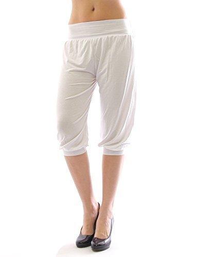 Harem Harems Aladin Pantalon POMPE CAPRI 3/4 haute couleur Leggings Baggy été - blanc, S