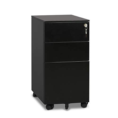 """DEVAISE 3 Drawer Metal File Cabinet with Lock in Black, 11.8""""W Fit Letter Size/Legal Size File Folders"""