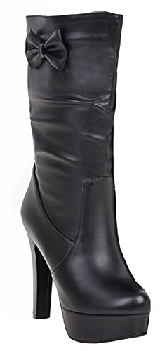 IDIFU Womens Sexy High Block Heels Platform Mid Calf Booties Half Boots With Bowknot Black bW8MkUNMx