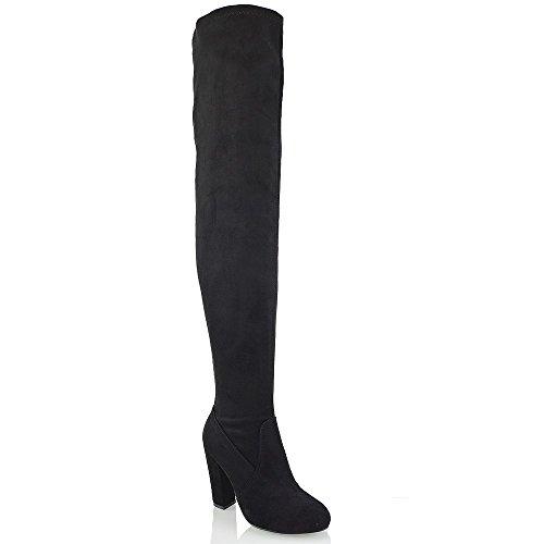 ESSEX GLAM Gamuza Sintética Botas elásticas por encima de la rodilla con tacón cuadrado Negro Gamuza Sintética