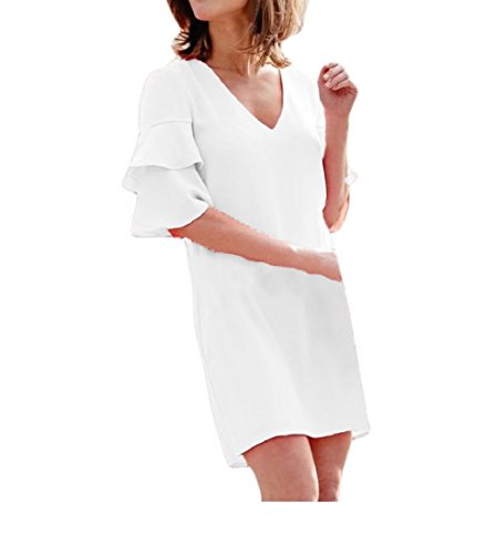 Pure Party Color Women Dress Slim Neck Comfort Coolred Fit Mini V Relaxed White qgpxnCEwE