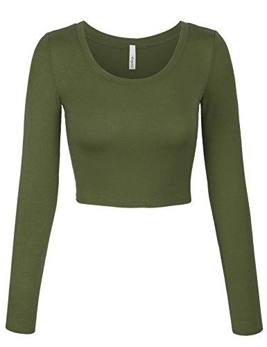 Federal Olive Federal Olive - KOGMO Womens Long Sleeve Crop Top Solid Round Neck T Shirt -S-Olive