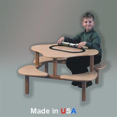 Wild Zoo Furniture Childs Play Table for 1-4 Kids, Ages 2 to 5, Maple/Tan by Wild Zoo Furniture