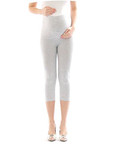 Femme Pantalon maternité enceinte-Legging grossesse Capri 3/4 leggings de Coton, Gris - Gris clair, XX-Large