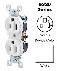 White Contractor (Leviton 5320-WUP Duplex Receptacle Residential Grade 5-15R 15A 125V Quickwire Push-In & Side Wired - White (Contractor Pack of 10))