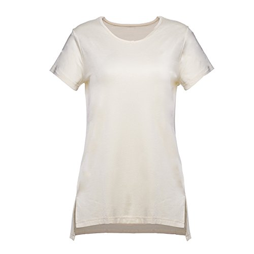 Rayon Shell - PrettyOn Women Short Sleeve Shirt Plain Casual T Shirt Basic High Low Loose Tee Tops with Side Split