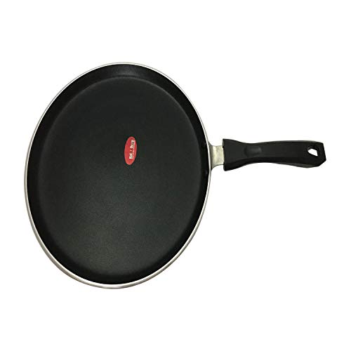 Nonstick Hard-Anodized Heavy Gauge Crepe Pancake Pan Griddle Dosa Pan Cookware Pan Dosa Tawa Indian Style Round Griddle Non-Stick Flat Tava Griddle Griddle,Dosa Pan Thickness 4 mm Size 11 Inches (Blac