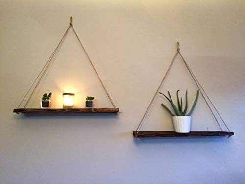 AD Planet Solid Wood Hanging Rope Floating Morden Mounted Swinging Wooden Shelf for Home Decor (16 x 5 inches, Set of 2)