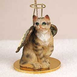Brown Tabby Angel Cat Ornament