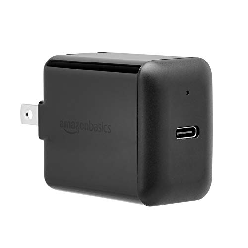 AmazonBasics 18W One-Port USB-C Wall Charger for Tablets and Phones with Power Delivery - Black