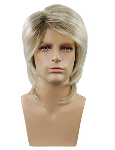 TopWigy 70s 80s Wig for Men Mullet Wig Halloween Costume Fancy Party Cosplay Wig 16 Inches Synthetic Rock Punk Wig Blonde -