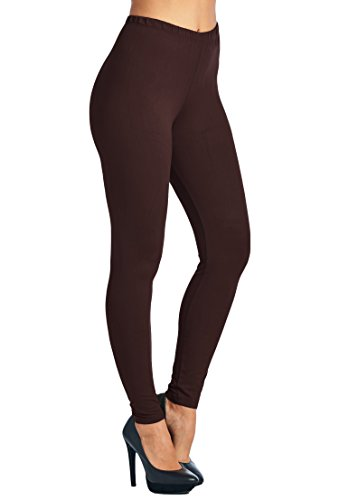 Leggings Mania Women's Solid Color Full Length High Waist Leggings, Brown, One Size