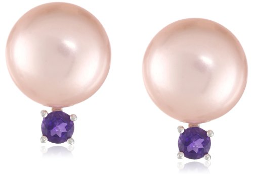 Pink Freshwater Cultured Pearl and Amethyst Sterling Silver Stud Earrings - Amethyst Pearl Jewelry