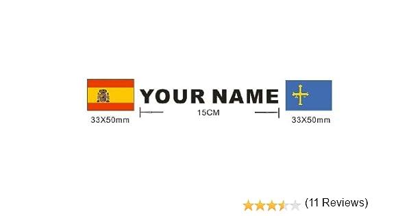 Lote 2 pegatinas bandera mas nombre personalizado, vinilo impreso ...