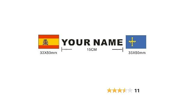 Lote 2 pegatinas bandera mas nombre personalizado, vinilo impreso para coche, moto, bici, pared, puerta, nevera, carpeta, etc.: Amazon.es: Coche y moto