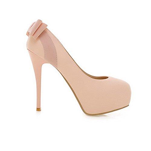 Allhqfashion Damesschuifplateau Rond Dichte Teen Hoge Hakken Pu Stevige Pumps-schoenen Roze