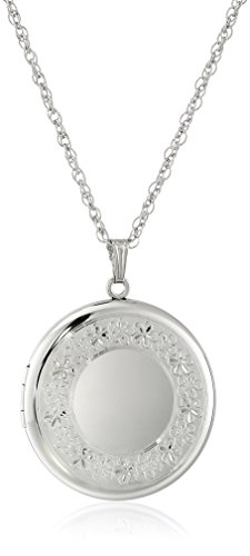 Sterling Silver Extra-Large Engraved Round Locket, 22""