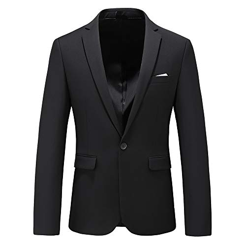 Man's Slim Fit Casual One Button Notched Lapel Turn-Down Collar Blazer Jacket US Size 44 (Label Size 6XL) Black ()