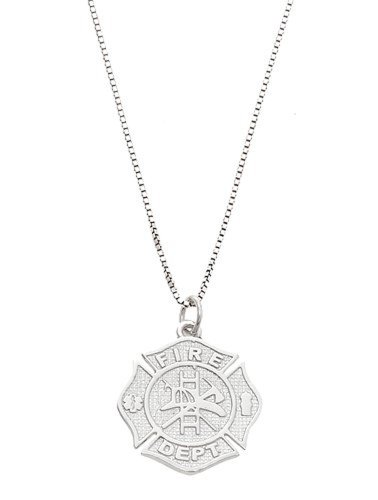 Sterling Silver Oxidized One Sided Fire Department Maltese Cross Necklace (16 Inches) Oxidized Cross Necklace