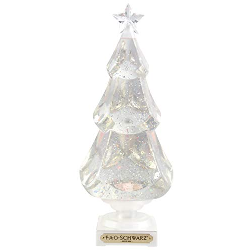 ORDER HOME COLLECTION LED Glitter Swirling Christmas Tree Water Spinner, Snow Globe Effect, Color-Changing LEDs, Built-in Automatic Daily Timer, Best Holiday and X-Mas DÈcor for Tabletops or Mantel (Tabletop Decor Tree)