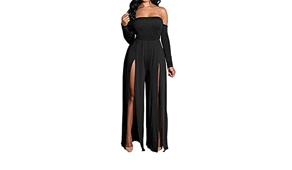 WSPLYSPJY Women/'s Elegant Off Shoulder Long Sleeve Stretchy Bodycon Pants Jumpsuit Rompers