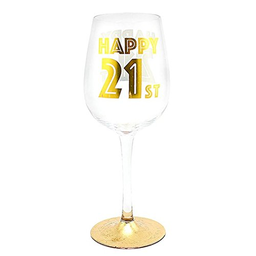 """Happy 21st"" 21st Birthday Wine Glass with Gold Artwork in Presentation Box Lesser Pavey"