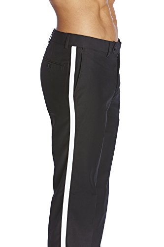 Flat Front Tuxedo (CONCITOR Men's TUXEDO Pants Flat Front with WHITE Satin Band Black Color 34)