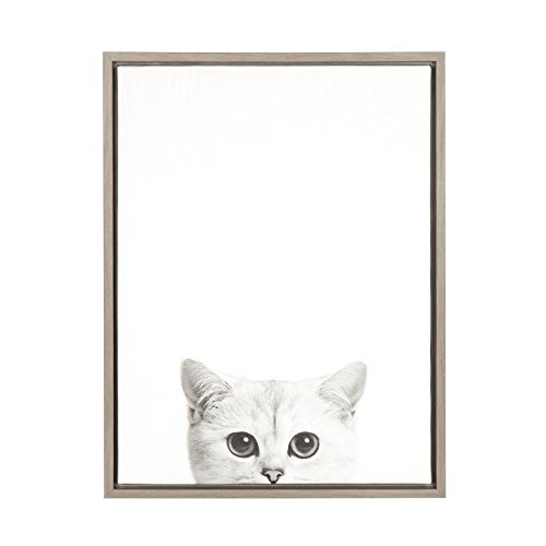 Kate and Laurel Sylvie Kitty Black and White Portrait Gray Framed Canvas Wall Art by Simon Te Tai