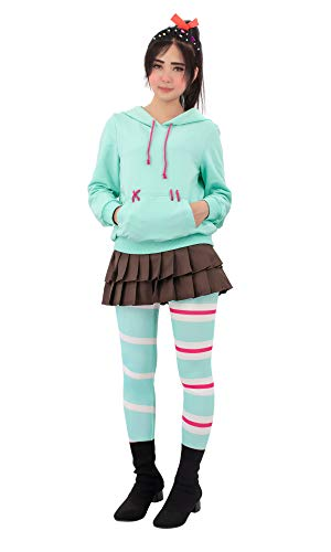 C-ZOFEK Vanelope Von Schweetz Cosplay Costume for Sweet Girls (Medium) Light Blue