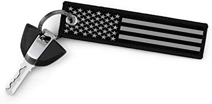 KEYTAILS Keychains Premium Quality USA Flag Blackout Key Tag for Auto Motorcycle Backpacks Gift