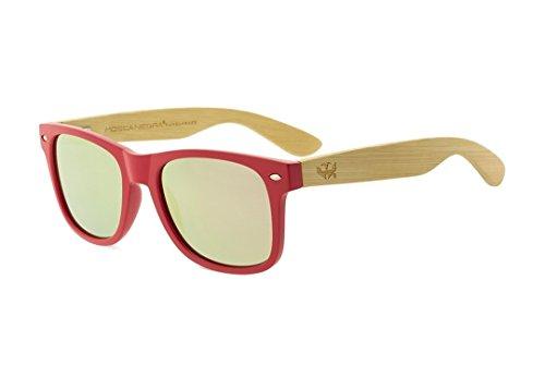 Polarized Wood Negra Mix de Pink Mosca Madera Modelo Gafas Sunglasses Solid RvwHqZn6x