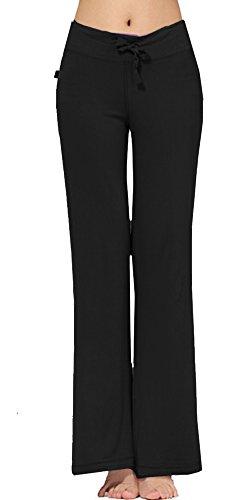 Women's Modal Comfy Straight Thin Sleek-fit Slacks Yoga Pants(XL,Black) (Womens Plus Size Dress Slacks)