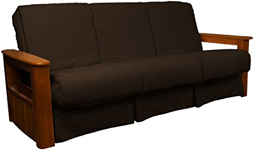 Chicago Storage Arm Style Perfect Sit & Sleep Pocketed Coil Inner Spring Pillow Top Sofa Sleeper Bed, Queen-size, Walnut Arm Finish, Microfiber Suede Choclolate Brown Upholstery - Oak Set Futon Frame