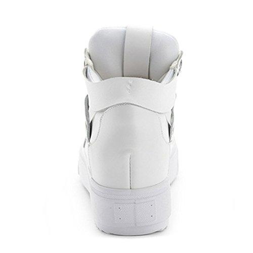 Zapatillas De Deporte De Moda Para Mujer Con Plataforma De Altura AuHombrestada Zapatillas De Deporte De Deporte Casual Con Cordones Antideslizantes Blancas
